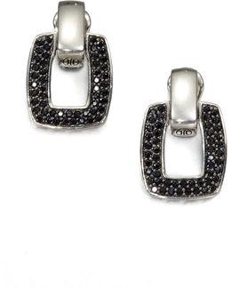 Classic Chain Black Sapphire & Sterling Silver Doorknocker Earrings
