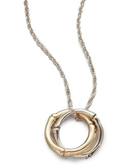 Bamboo 18k Yellow Gold & Sterling Silver Small Interlinking Pendant Necklace