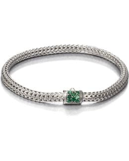 Classic Chain Tsavorite & Sterling Silver Extra-small Bracelet