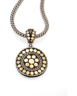 Dot 18k Yellow Gold & Steling Silver Small Round Pendant