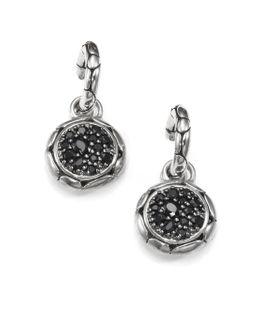 Kali Black Sapphire & Sterling Silver Small Hoop Drop Earrings