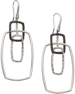 Classic Chain Black Sapphire & Sterling Silver Rectangular Drop Earrings