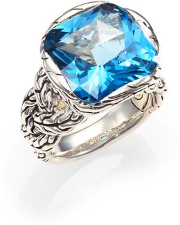 Classic Chain London Blue Topaz & Sterling Silver Braided Ring