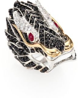 Naga Black Sapphire, Ruby, 18k Yellow Gold & Sterling Silver Dragon Ring