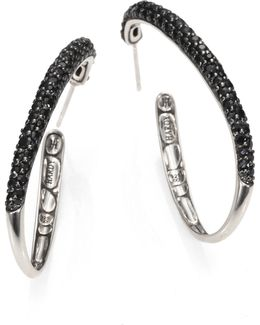 Kali Black Sapphire & Sterling Silver Hoop Earrings/2
