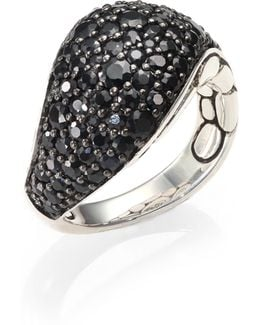 Kali Black Sapphire & Sterling Silver Lava Ring