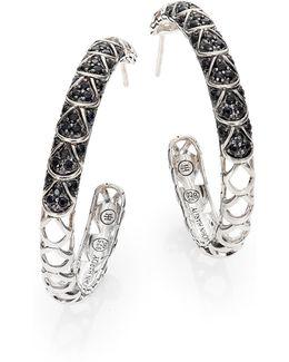 Naga Black Sapphire & Sterling Silver Cutout Lava Hoop Earrings/1.3