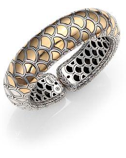 Naga 18k Yellow Gold & Sterling Silver Bold Flex Cuff Bracelet