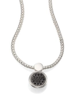 Dot Black Sapphire & Sterling Silver Lava Round Pendant Necklace