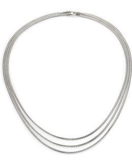 Classic Chain Sterling Silver Mini Multi-strand Necklace