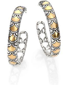 Naga 18k Yellow Gold & Sterling Silver Hoop Earrings/1.15