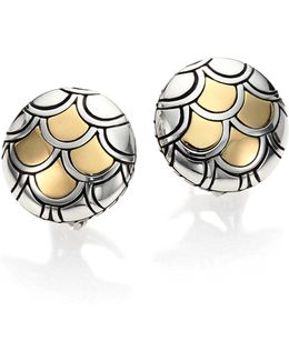 Naga 18k Yellow Gold & Sterling Silver Button Earrings