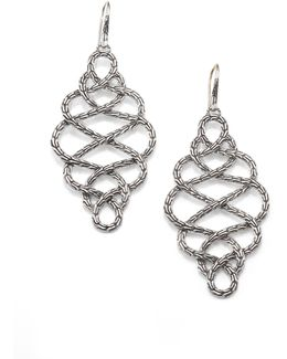 Classic Chain Sterling Silver Large Braided Drop Earrings