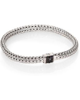 Classic Chain Black Sapphire & Sterling Silver Small Bracelet