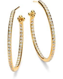 Classic Diamond & 18k Yellow Gold Hoop Earrings/1.2