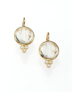 Celestial Rock Crystal, Diamond & 18k Yellow Gold Small Moonface Earrings