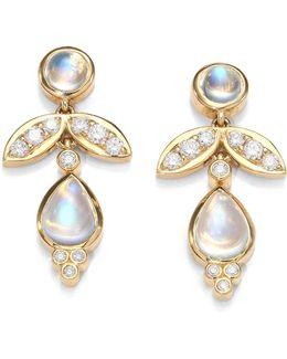 Foglia Royal Blue Moonstone, Diamond & 18k Yellow Gold Drop Earrings