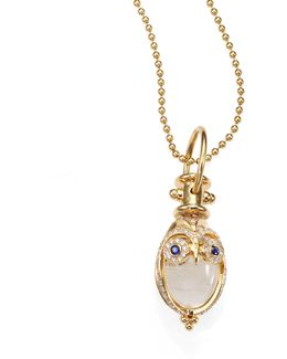 Tree Of Life Rock Crystal, Diamond, Sapphire & 18k Yellow Gold Owl Amulet