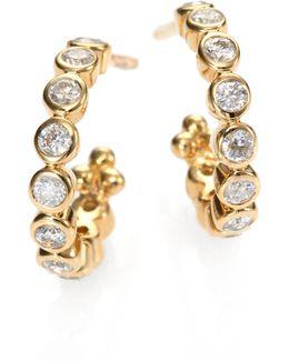 Classic Eternity Diamond & 18k Yellow Gold Hoop Earrings/0.4
