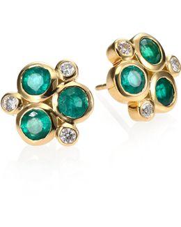 Classic Color Emerald, Diamond & 18k Yellow Gold Trio Earrings