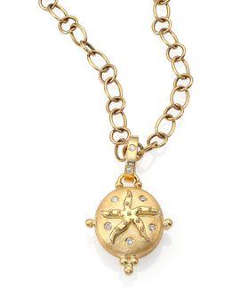Tree Of Life Diamond & 18k Yellow Gold Small Sea Star Locket