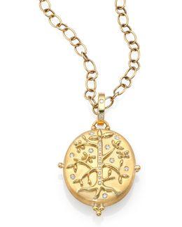 Tree Of Life Diamond & 18k Yellow Gold Locket
