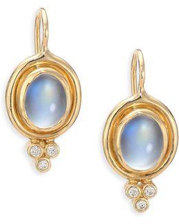 Royal Blue Moonstone, Diamond & 18k Yellow Gold Drop Earrings