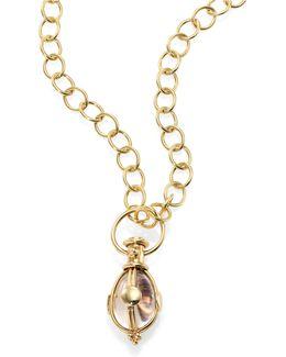 Celestial Rock Crystal & 18k Yellow Gold Lunar Amulet