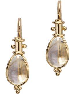 Classic Rock Crystal & 18k Yellow Gold Amulet Drop Earrings