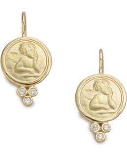 Angel Diamond & 18k Yellow Gold Drop Earrings