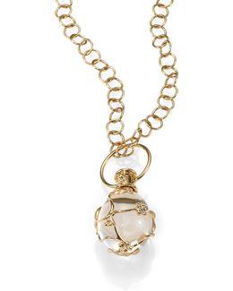 Tree Of Life Rock Crystal, Diamond & 18k Yellow Gold Medium Vine Amulet
