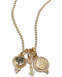 Rock Crystal, Diamond & 18k Yellow Gold Amore Triple Charm Necklace