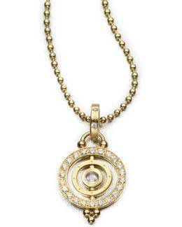 Royal Blue Moonstone & 18k Gold Dual Ring Pendant