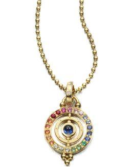Mixed Sapphire & 18k Yellow Gold Dual Ring Pendant