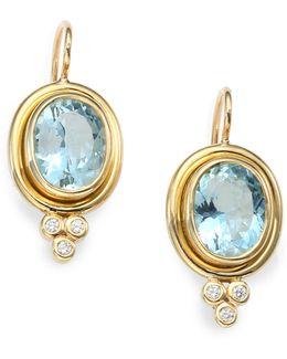 Classic Color Aquamarine, Diamond & 18k Yellow Gold Oval Drop Earrings