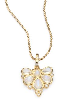 Royal Blue Moonstone, Diamond & 18k Yellow Gold Fan Pendant