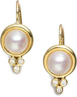 Classic 7mm White Mabe Pearl, Diamond & 18k Yellow Gold Drop Earrings