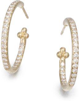 Classic Diamond & 18k Yellow Gold Hoop Earrings/0.7
