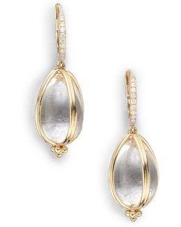 Classic Rock Crystal, Diamond & 18k Yellow Gold Amulet Drop Earrings