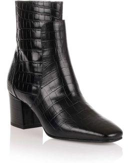Black Croc-embossed Ankle Boot