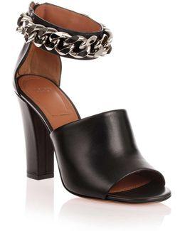 Black Leather Chain Sandal Us