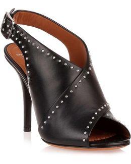 Black Leather Cross-over Sandal Us