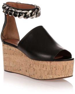 Black Leather Platform Cork Sandal Us