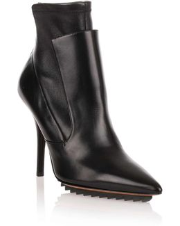 Black Leather Stretch Ankle Boot Us