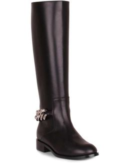 Black Leather Chain Boot Us