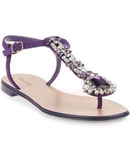 Esfiratomod Flat Purple Suede Sandal Us