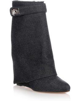Fold-over Denim Shark Lock Ankle Boot