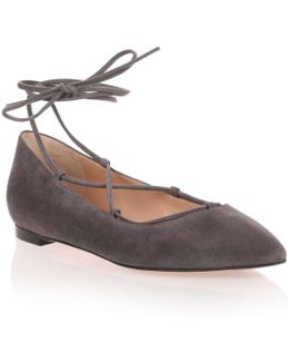Grey Suede Lace Up Femi' Flat Us