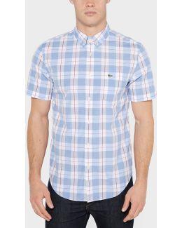 Plaid Poplin Short Sleeve Shirt