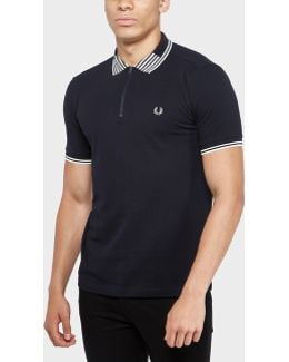 Striped Collar Pique Polo Shirt